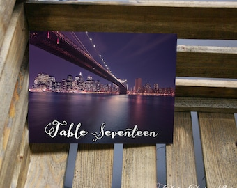 Table Number Card with New York City Landmarks - 5x7 or 4x6 Card