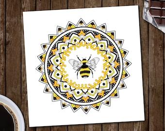 SALE ! Honey Bee mandala print. Wall decoration, wall art, illustration, bedroom decor, gift, present for him or her.