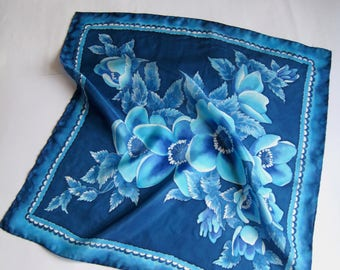 Art scarf Floral silk scarf Square Wearable art Navy blue scarf Hand painted silk Batik Hand made scarf Magnolia silk scarf Blue silk wrap