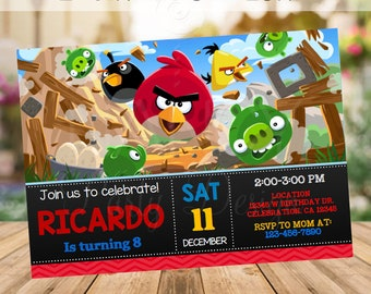 Editable Angry Birds Invitation, Angry Birds Birthday Party, Angry Birds Printables, Angry Birds Theme, Chalkboard Invite,  INSTANT DOWNLOAD