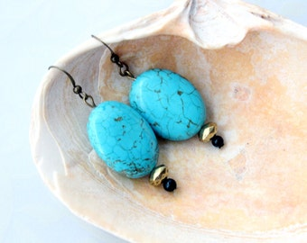 Turquoise Howlite Natural Stone Artistic Ear Dangles With Brass- Customize Choices Copper Or Silver Tone Metal
