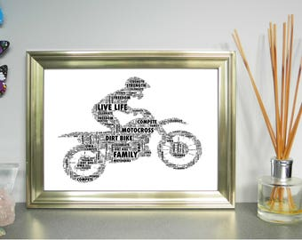 Motocross Bike and Rider, Personalised Word Art Print, FREE UK P&P. Word Cloud Picture. Digital art, Word Collage.