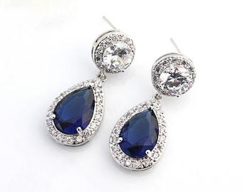 Chrissy - Blue Sapphire Wedding Earrings, Bridal Earrings, Crystal Teardrop Earrings, Bridal Jewelry, Cubic Zirconia, CZ Drop Earrings