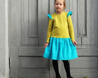 Girls dress Girls ruffle dress Toddler girl dress Girls clothes Mustard teal dress Autumn Winter dress Everyday dress