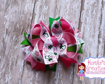 Tractor hair bow, John Deere Inspired Hair bows, Pink and Green Tractor Hair bow