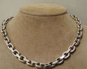 """Vintage Solid Chunky Sterling silver 19"""" Long with 168 grams weight necklace."""