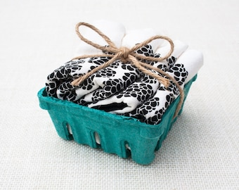 Set of Four Blackberry Basket Flour Sack Napkins