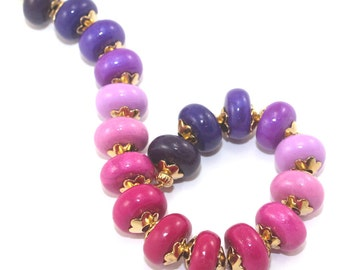 Purple to pink round beads for jewelry making necklace DIY gift for women for girls handmade beads polymer clay beads purple red, set of 18