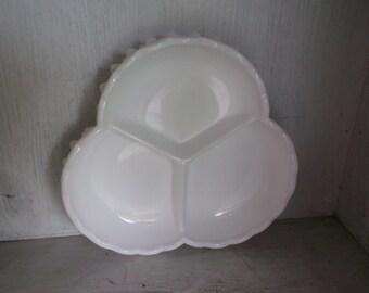 Fenton White Hobnail 3 Part Clover Shape Relish Dish