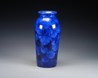 Ceramic Vase - Dark Blue - Crystalline Glaze on High-Fired Porcelain - Hand-Made Pottery - SHIPPING INCLUDED  - #E-5201