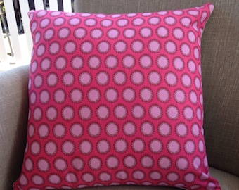 "Amy Butler ""Soul Blossoms"" Laurel Dots in Cherry cushion cover/pillow backed with EST French linen"