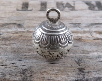 Thai Hill Tribe Fine Silver Bell - One Piece - Lotus Blossom Fine Silver Bell - Artisan Findings - Thai Silver Findings - Thai Bell - TB3