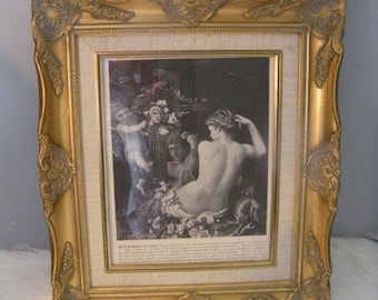 Ornate Antiqued Gold Gilded Wood Framed ~ Vintage Lithograph The Summer of Life ~ Cherub Roses Maiden