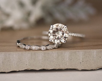 White Gold Engagement Ring, Moissanite Round 9mm and Diamond Bridal Ring Set, Forever Brilliant 2.70cts Moissanite Engagement Ring
