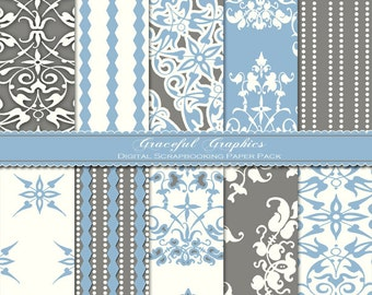 Scrapbook Paper Pack Digital Scrapbooking Background Papers CLASSIC 60s Pack Blue Gray White 10 Sheets 8.5 x 11  1009gg