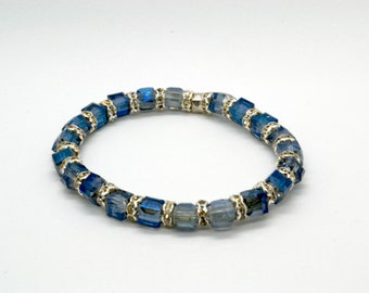 bracelet of blue glass with sparkling silver