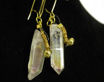 Quartz Point Earrings with gold accent