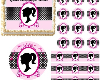 Girl Silhouette Edible Cake Topper Image, Girl Silhouette Cupcakes, Frosting Sheet Image, Cake Decoration Edible, Girl Head Cake, Girl Cake
