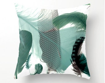 Feather Art Pillow No.1 decorative throw pillow, accent cushion, scatter cushion, pillow cover, cushion cover, indoor or outdoor pillows