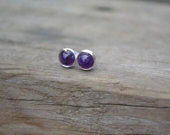 Amethyst Tiny Stud Earrings // Tiny Silver Earrings // Tiny Gold Earrings // Post Earrings // Wire Wrapped Studs // Second Hole Earrings