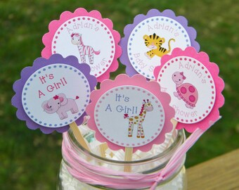 Baby Shower Cupcake Toppers  - Personalized Baby Shower Animal Cupcake Toppers - Baby Animal Birthday Cupcake Toppers - Favors