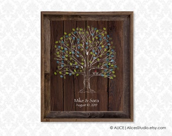 Custom Wedding Tree Guest Book -  Personalised Fingerprint Tree Print -  Canvas or Paper - Free Gift with Purchase