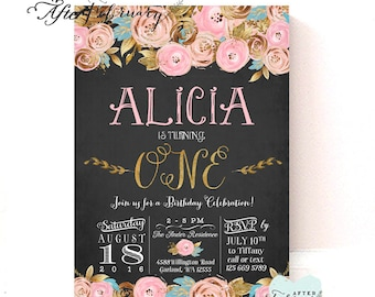 Pink and Gold First Birthday Invitation Gold and Pink Floral Birthday Invitation Girl Birthday Party Invite / Printable No.452KIDS