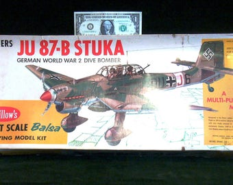 Vintage 1960s Guillow's Giant Scale Balsa Flying Model Kit Junkers JU 87-B Stuka German Dive Bomber Model Kit