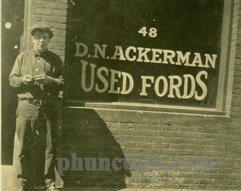 Mechanic on Duty Vintage Photo D. N. Ackerman Used Fords Motor Cars Automobiles