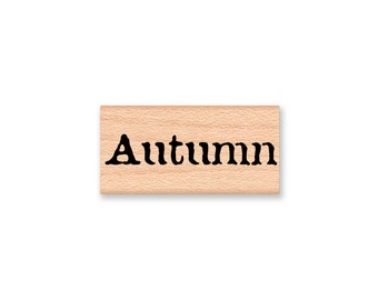 Autumn~rubber stamp~type font~Fall~leaf~Seasonal~holiday~card making~crafting~wood mounted stamp~greeting card~Mountainside Crafts  (35-34)