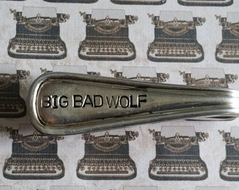 big bad wolf sliver plated tie clip and money clip