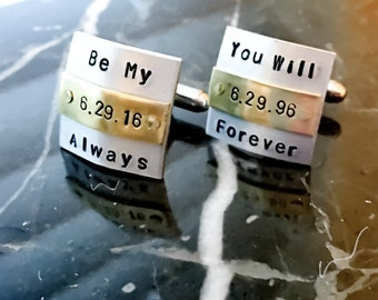 Belted Custom Cuff links - Personalized Cufflinks - Domed Square Stamped Cufflinks - Customized Cuff links, Weding,Anniversary,Forever,Love