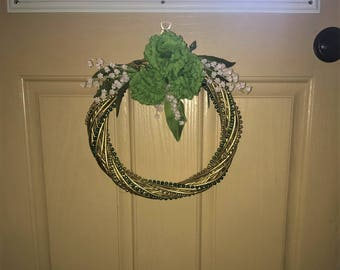 Gold St. Patrick's Day Wreath Wrapped With Beads