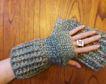 Fingerless gloves - Tundra lichen; texting gloves; hand warmers; wrist warmers; made in Alaska; crochet gloves