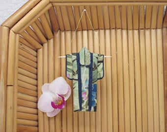 """Tiny Ornament. """"Spring Garden."""" Fabric Origami Kimono: Handmade Green Blue Pink Bamboo, Mums, Wisteria, Flowers Hang it, Frame it, Give it."""