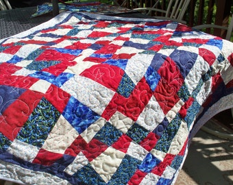 """AMERICAN LIBERTY QUILT, 46"""" Square Red, White & Blue Handmade Quilt"""