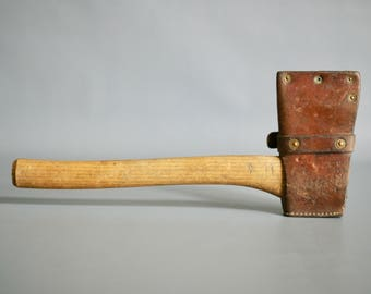 SWISS ARMY AXE with Leather Cover, 1930s Swiss Army Axe, Swiss Military Axe, Swiss Military Leather, Swiss Army Leather, 1930s Army Bag