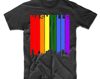 Nashville Tennessee Downtown Rainbow LGBT Gay Pride T-Shirt