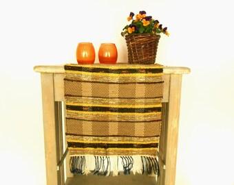 Vintage Swedish rag table or floor runner Brown yellow striped table runner Rag runner Woven rag runner