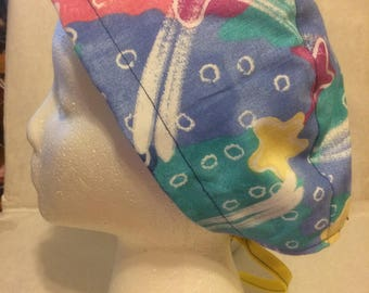 Star Bright fabric, tie back, surgical cap