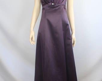 80s prom dress, vintage 1980s ball gown dress, ballgown, David's Bridal, strapless evening dress purple, eggplant, 1980s XS extra small XXS