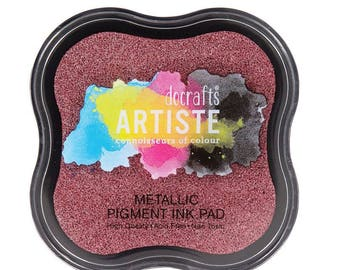 Metallic Berry Red Pigment Ink Pad - Docrafts Artiste Stamp Pad - Embossing - Shimmer Ink - Scrapbook Embellishment - Christmas Crafts