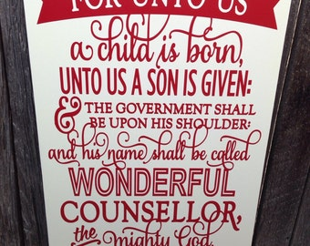 Christian Christmas Decor Sign Christmas Sign Christmas Decor Holiday Decor Isaiah 9 For Unto Us A Child Is Born Scripture Art Decoration