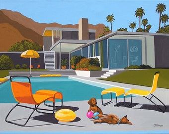 Mid Century Modern Eames Retro Limited Edition Print from Original Painting Dachshunds Pool