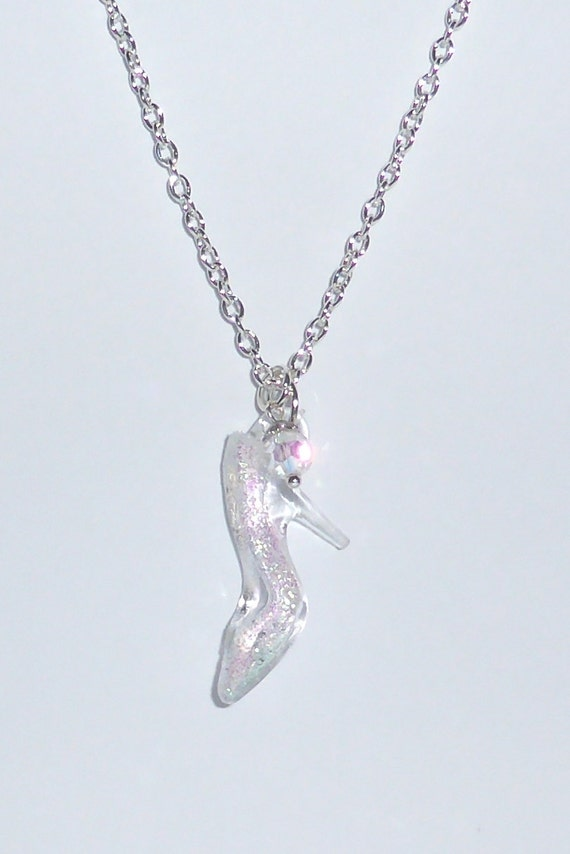 Cinderella glass slipper charm necklace crystal charm silver cinderella glass slipper charm necklace crystal charm silver necklace disney princess inspired cinderella gift party favour aloadofball Images