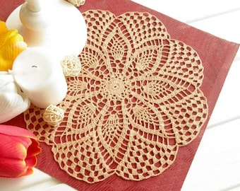 Orange crochet doily Lace doily Handmade crochet doilies Table decoration Dirty orange decor Pineapple doily 376