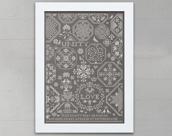 Love & Unity: A Quaker Sampler - Cross Stitch Embroidery Pattern Chart - Instant Download PDF Booklet