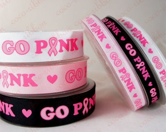 10 Yards 3/8 Inch (9mm) Go Pink Breast Cancer Awareness Ribbon Grosgrain Ribbon G05