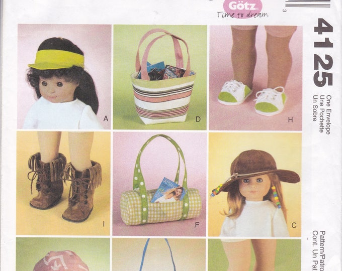 """FREE US SHIP McCalls 4125 Gotz American Girl 18"""" Doll Hat Shoes Purse Uncut Factory Folded 2003 Out of Print"""
