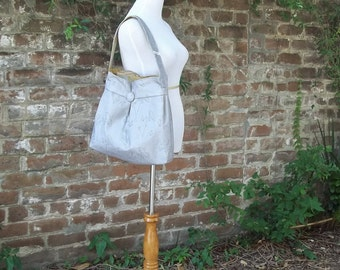 Grey Yellow Bag -  Wildflower Large Reversible Hobo Bag